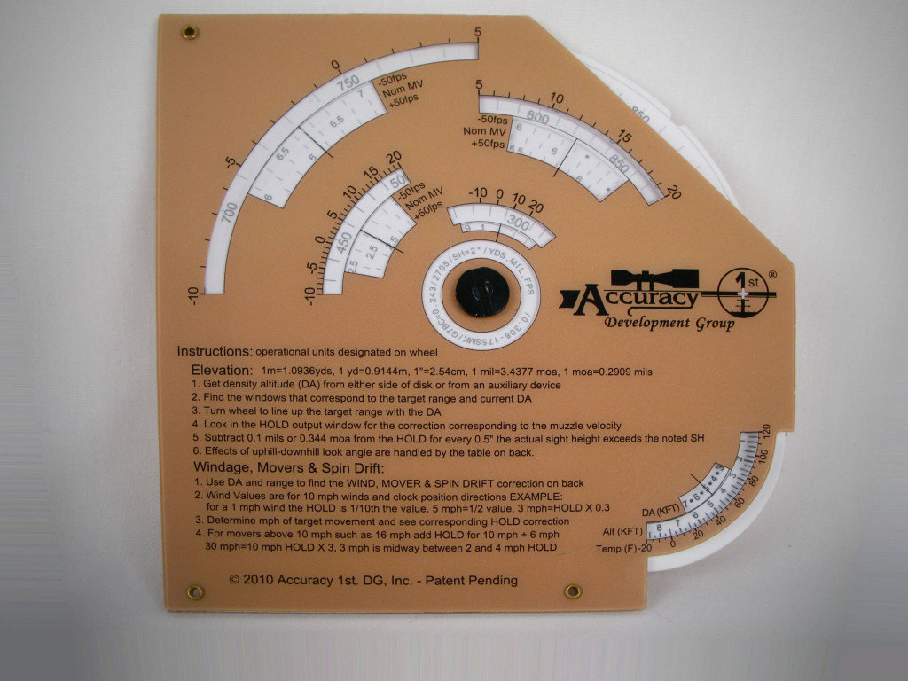 The Whiz Wheel is more complex than the FDAC but provides highly accurate ballistic information for elevation, windage, and moving targets.