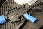 Blue furniture helps identify the training guns.