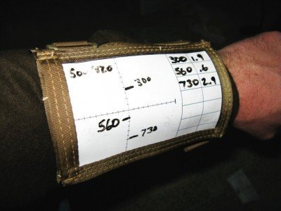 Wrist coaches with multiple windows such as this allow the shooter to keep multiple forms of data handy.