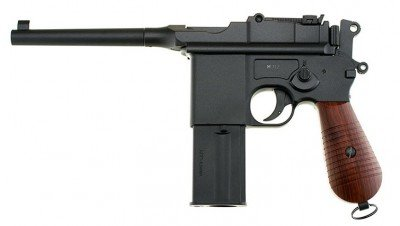The Gletcher M712 is a nearly perfect replica of the Broomhandle Mauser from WWI and most wars of the 20th Century.