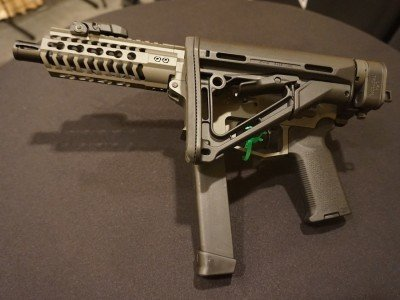 With a Law Tactical folding stock adapter, the UDP-9 becomes a compact SBR.
