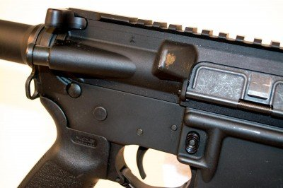 """One thing I noticed - with the pistol-length gas system, this gun ejected brass with authority. Check out the """"brass stain."""""""