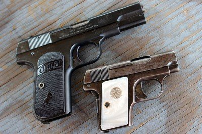The two infamuse Colt Pocket Pistols.  Hammerless and Vest Pocket.
