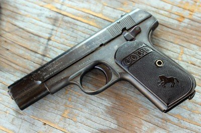 """With the black grips was this the original """"black gun""""? Note the small safety."""