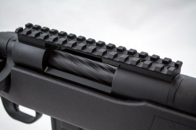 The six inch Picatinny rail has a deep groove down the center allowing you to easily see the iron sights up front.