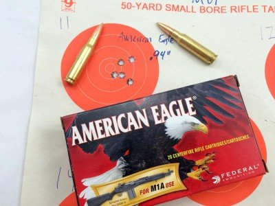 The MVP Patrol turned in pretty respectable accuracy with this broadly available American Eagle M1A ammo.