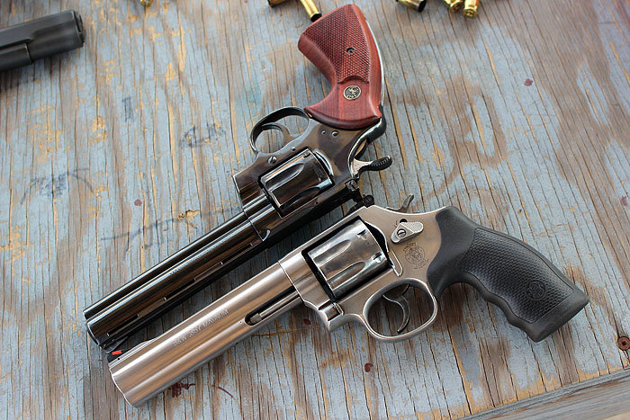 Two classic beauties--the Colt Python (top) and the Smith 686.