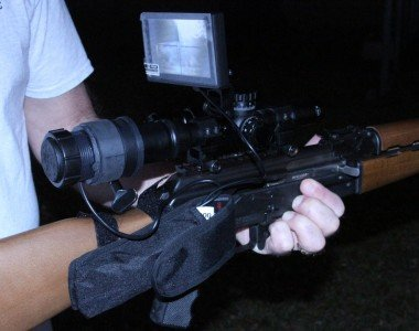 Here is the Digital Crosshairs at night, mounted on an AK-47.
