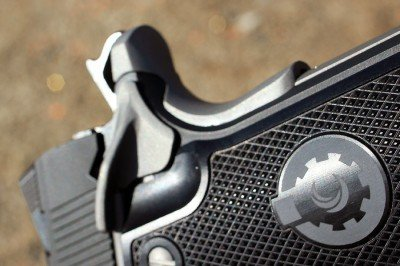 The grip is milled to allow the safety to drop freely.