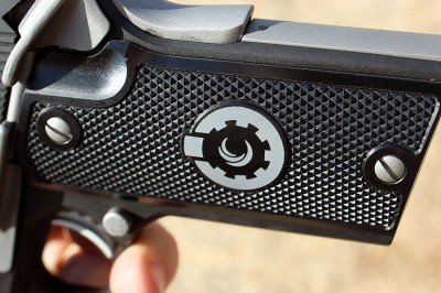 The aluminum grips are milled and the texture is superb.