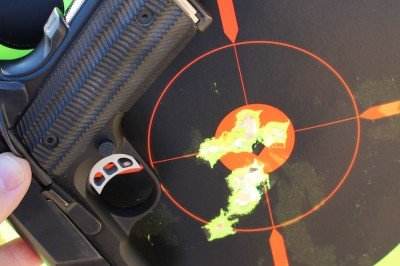 The more I worked with the T4, the more I liked it. I even got to where I could thread the needle from a timed holster draw. These were shot from 21 feet as fast as I could from the holster.