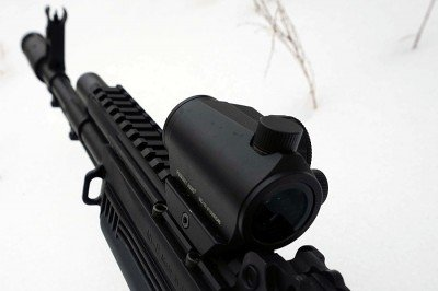 Without a riser, the optic sits in line with AK sights.
