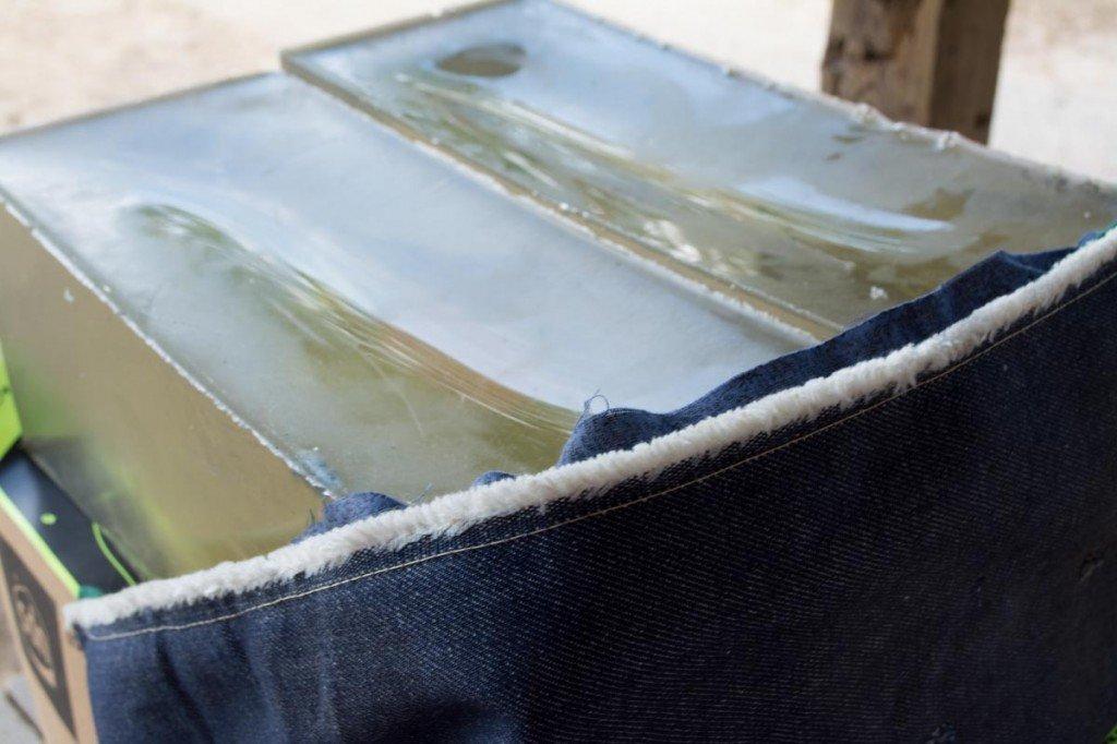 I used the FBI heavy fabric barrier in front of fresh Clear Ballistics 10% gel blocks.