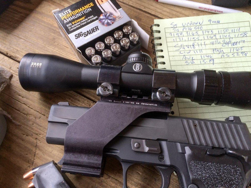 To test accuracy, I used a Bushnell Elite 3500 Handgun Scope mounted on a Sig Sauer P226 Elite SAO.