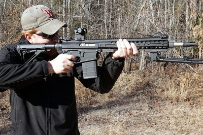 A red dot on a .308 may seem like a missed opportunity, but these heavy guns have their place in close quarters combat, too, and the extra speed gained is an asset.