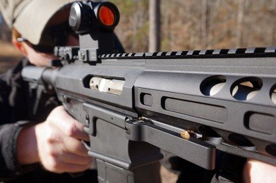 The clamp for the forend holds everything secure.