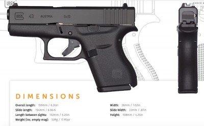 Specs of the G43.  (Photo: Glock)