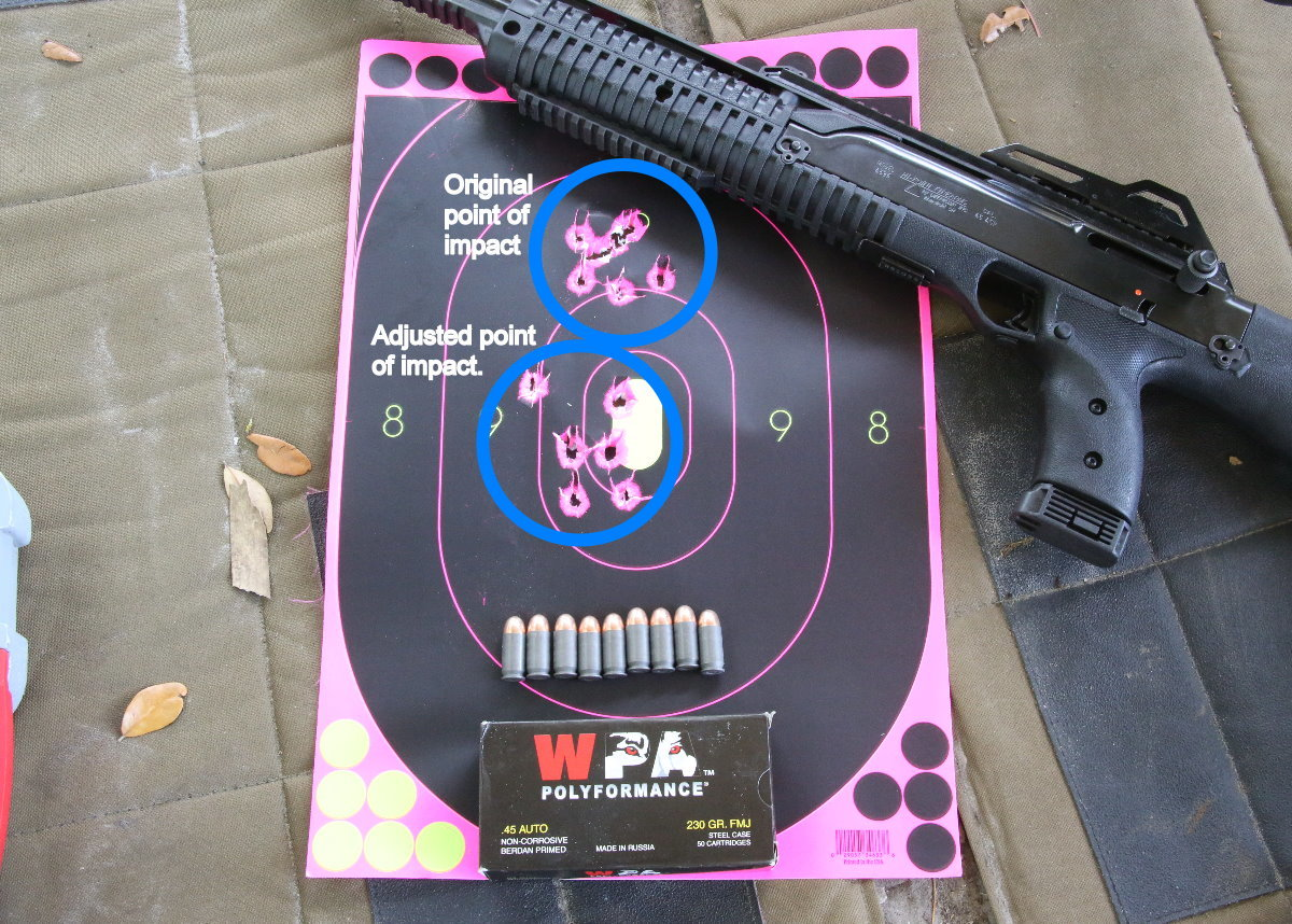 My big concern with this gun was accuracy, but it came in at about the same accuracy at 25 yards that I can shoot with a handgun. The top groups is where it came zeroed from the factory, I adjusted it down to zero at 25 yards.