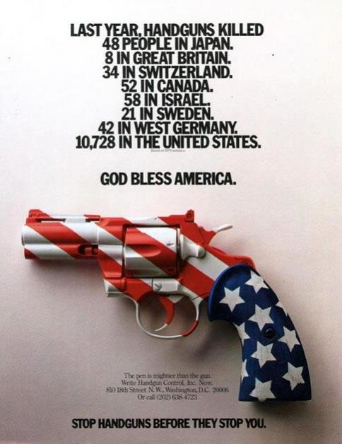 Richard Branson's Anti-Gun poster.