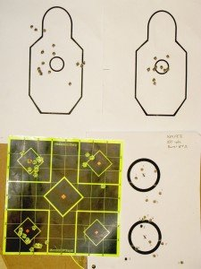 Results of accuracy and return to zero testing at 50 and 100 yards. The top targets were shot at 50 yards while the bottom targets were shot at 100 yards.