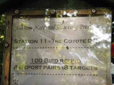 "Station 11 at Vernon is a ""report pairs"" station. That means that the second target is not launched until you make your shot at the first target. At a ""true pairs"" station, both birds are launched simultaneously."