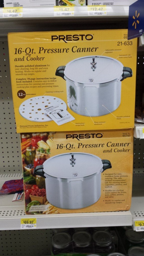 The Presto canner in this article is available at most rurul Walmarts.  Even if you think you might spend the extra $200+ on a metal to metal fit All American canner, it never hurts to have two, because you will have the fire going waiting for the first canner to cool and you may as well run another batch.