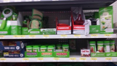 Walmart is a great resource for canning supplies. You don't need pectin or salt to can. Follow modern directions instead of old wivestale directions.