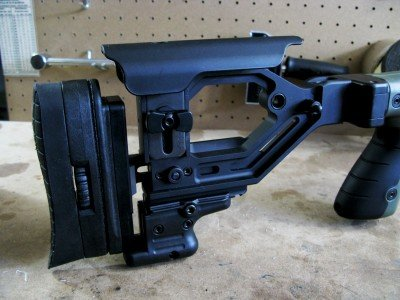 The stock assembly has been extensively engineered to be fully adjustable and configurable to the shooter's needs.  The butt hook is removeable to allow other accessories to be used.