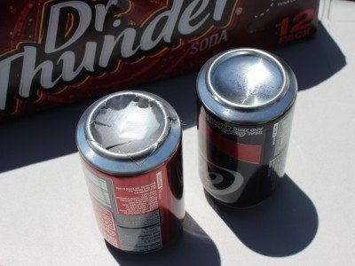 The Coke cans flew fine. Mostly. Dr. Thunder split every time, until we devised the duct tape patch.