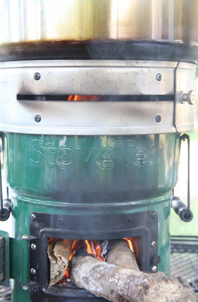 In order to maintain the hard boil required by a canner, you need a raging fire with plenty of air. In a Rocket Stove that is still only a little fuel, and the StoveTec heat ring helps a lot with this stove.