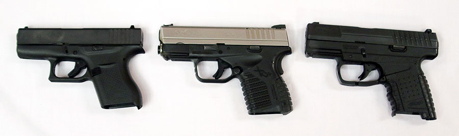 The GLOCK 43, a Springfield-Armory XD-S, and a Walther.