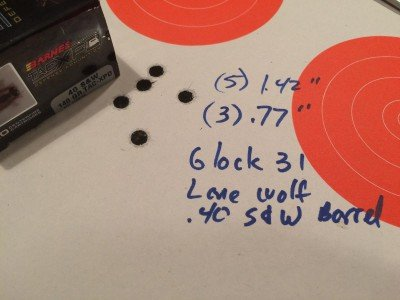 I was surprised at the accuracy from a Glock 31 (.357 Sig) using a Lone Wolf .40 S&W conversion barrel.