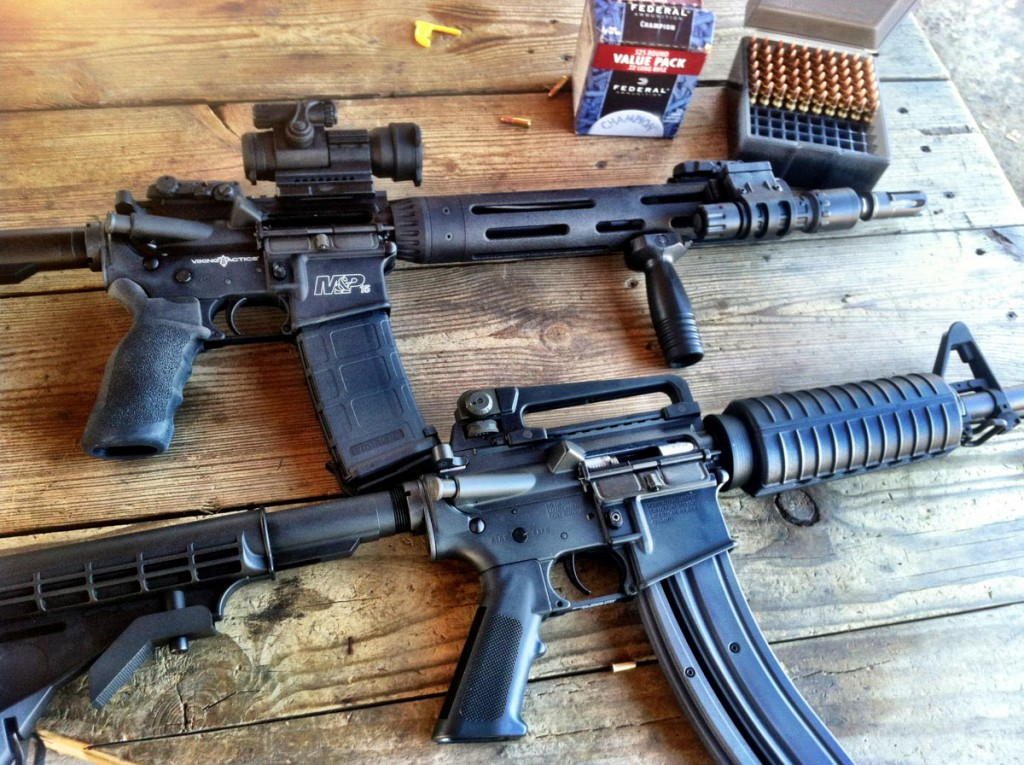A Smith & Wesson M&P 15 VTAC (top) and Colt M4 chambered in .22LR (below)