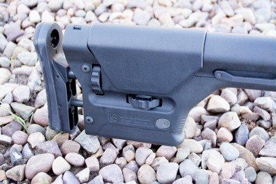 The Magpul PRS Precision-Adjustable Stock allows adjustment of length of pull and comb height.