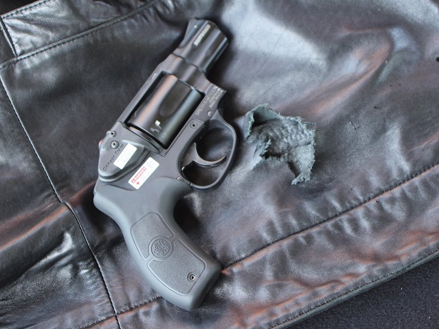The perfect pocket pistol? At least for firing from inside a coat. This Smith has a laser, too--though it doesn't do you much good inside the pocket.