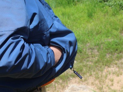 The nylon coat offered nice concealment, and the gun poked through the hole easily for better follow-up shots.