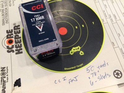 The CCI FMJ turned in an amazing .78-inch group for 6 shots at 50 yards.