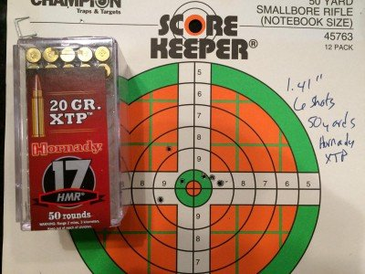 The second most accurate load I tested was the Hornady XTP 20 grain.