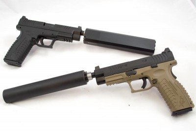 Silence anyone? The new Springfield Armory XD(M) Threaded 45 (top) and 9mm (bottom)