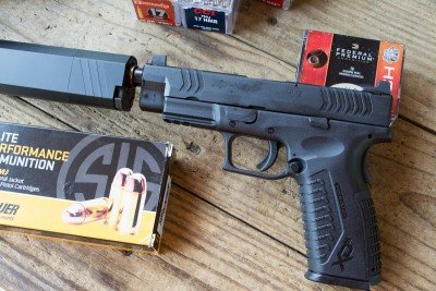 Most 45 ACP ammo is subsonic by nature, so the XD(M) 45 is almost always quiet.