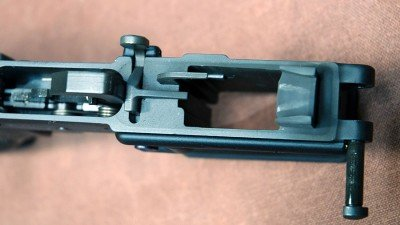 The magwell as seen from above. The lower includes the ejector and feed ramp.