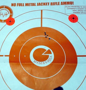 This is a typical offhand group for the .22 from 23'. Why 23? You'll have to ask the people who set up the commercial range.