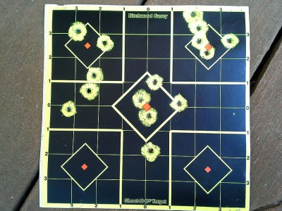 Typical results for the .380 offhand from 23'. My old eyes have trouble seeing the sights. You could probably do better.