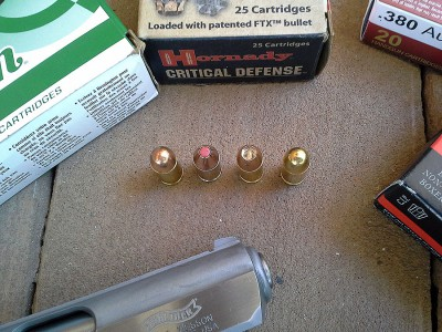 From left to right: Remington 95gr FMJ, Hornady Critical Defense 90gr FTX, Dynamic Research Technologies 85gr HP, Herters 95gr FMJ. They all fed flawlessly.