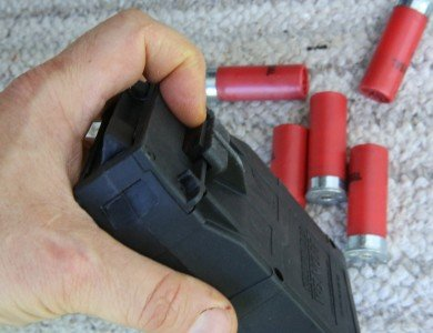 My only real complaint with the system is that I have on several occasions laid a magazine down and nicked the magazine emptying button, which is on all the mags. The shells just flow out onto the ground. I think it should have a stiffer spring so that it is harder to accidentally release.