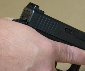 The GLOCK has the tendency of biting my hand. I have big hands, but even with the beave-rtail, I can't escape it.