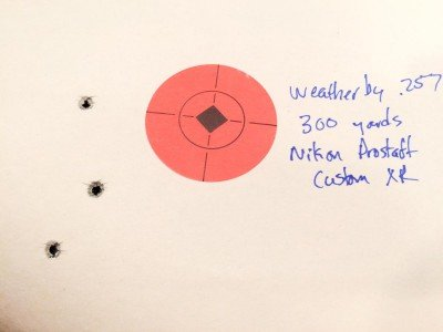 At the 300 yard setting, the average impact was just one-inch below the centerline.