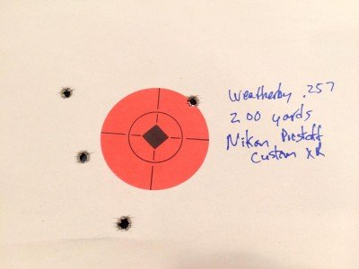 At 200 yards, the elevation was right on. Two shots above the centerline of the 2-inch target and two below.