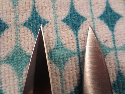 Comparison shot of the Godson with a paring knife, trying to give you a sense of how truly pointy that tip is.