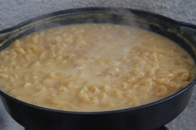It took about 20 minutes to get the Cheesy Mac up to boiling. But during that time the pasta cooked and softened. The boil was never really hard, but it cooked.